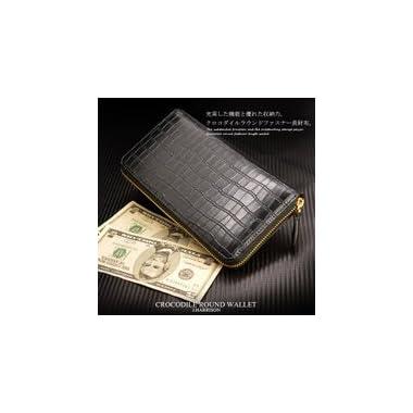 ラウンドファスナー 長財布 メンズ クロコダイル型押し牛革製ラウンド長財布 最高の収納を実現。【紳士物、男性用、、セール、saifu、さいふ、人気、ブランド】