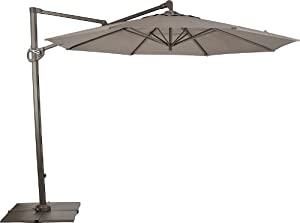 Secret Garden 10 Ft Sunbrella® Trigger Lift Offset Umbrella with ROTATE Function Cross Steel Base and 4 Poly Resin Tiles- Cocoa (with UV Resistant)