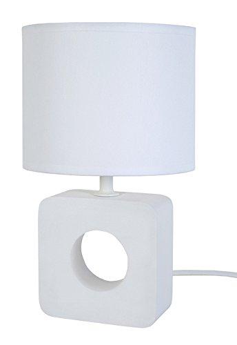 Kebo Tosel 64797-Lampada da comodino in legno di faggio, in cotone, colore: bianco, 150 x 255 mm