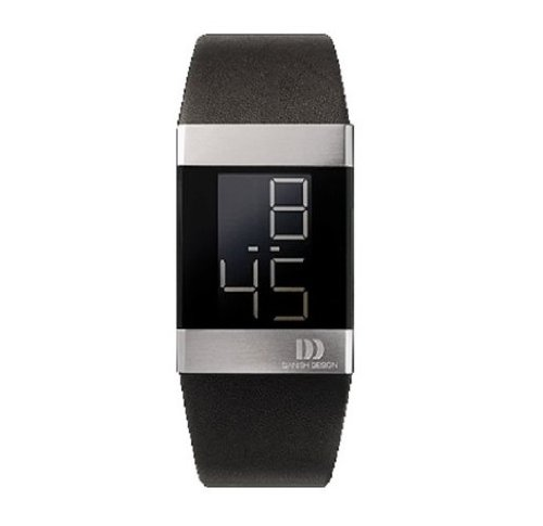 Danish Design IQ13Q641 Stainless Steel Case Black Digital Dial Leather Band Mens Watch
