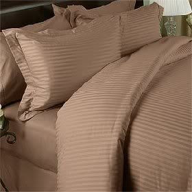 Egyptian Bedding 1000 Thread Count Egyptian Cotton 1000TC Pillow Case Set, Full, Taupe Stripe 1000 TC