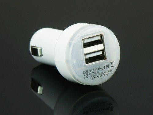 【ノーブランド品】USB 端子 光る 充電器 シガー ソケット カーチャージャー 1000mA 2100mA 対応 アダプター ホワイト 運転中 (移動中) 充電出来る 車載充電器 【スマートフォン ipad iphone 5s/5c 同時充電可能】 2ポート ソケット