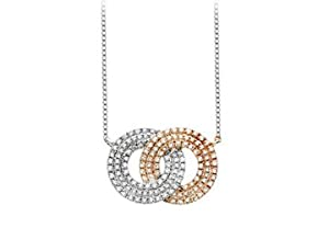 Diamond Double Circle Interlocking Pendant in 14K Two Tone White and Yellow Gold 1.50 Carat Diam