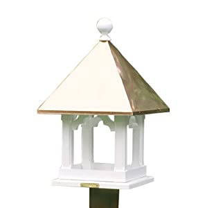Lazy Hill Farm Designs 42501 Square Feeder White Solid Cellular Vinyl with Polished Copper Roof, 16-Inch by 22-Inch