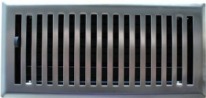 "4"" X 14"" Brushed Nickel Contemporary Floor Register / Vent Cover"