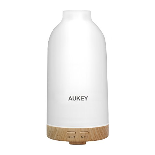 Oil Diffuser, AUKEY 100ml Aromatherapy Essential Oil Diffuser Ultrasonic Cool Mist Aroma Humidifier with Color Lights Changing and Waterless Auto Shut-off Function for Office, Yoga, Spa, Home, Bedroom (BE-A4) Glass