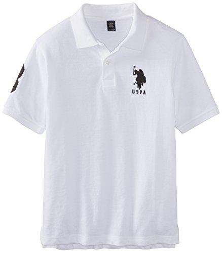 U.S. Polo Assn. Big Boys' Solid Pique Polo With Big Pony Logo, White/Black, 18