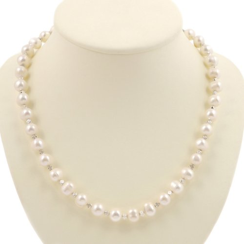 EXP Handmade White Freshwater Pearl Necklace With Faceted Silver Beads