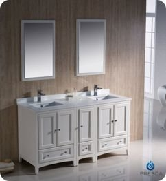 "Oxford 60"" Traditional Double Sink Bathroom Vanity Set Finish: Antique White front-975857"