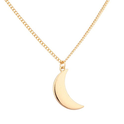 Lux Accessories Quarter Moon Galaxy Pendant Necklace