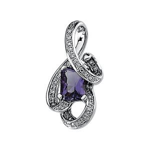 Genuine IceCarats Designer Jewelry Gift 14K White Gold Genuine Amethyst And Diamond Pendant 08.00X06.00