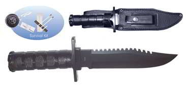 SE KCK086S 12-Inch Stainless Steel Hunting Knife Survival Fishing Kit
