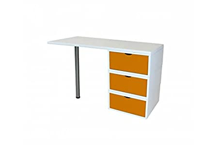 ABC MEUBLES - Bureau Cube 3 tiroirs - BUR3TCUBLB - Orange