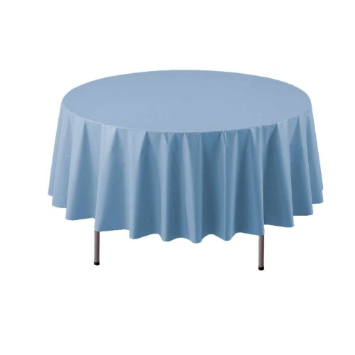 "Party Essentials ValuMost Round Plastic Table Cover, 84"", Light Blue"