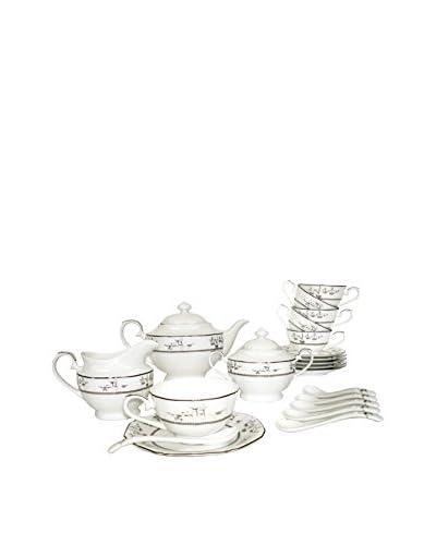 Auratic 21-Piece Tea Set, White/Flowers