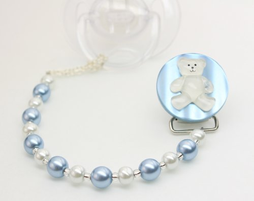 Baby Blue Teddy Bear Pacifier Clip
