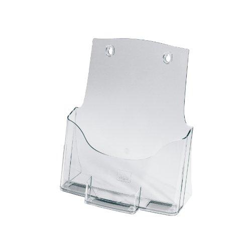 Sigel-LH111-Tisch-Prospekthalter-Prospektstnder-Flyerhalter-DIN-A4-mit-Visitenkartenfach-aus-hochwertigem-Acryl