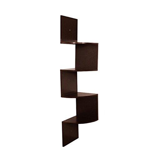 Nmch Corner Shelves, 5-Tier Wall Mount Corner Wall Shelf, Zig Zag Corner Storage (Coffee) (Decorative Shelf Expresso compare prices)