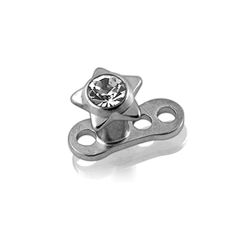 Piercing-Schmuck-Weien-Crystal-Stein-Stern-chirurgischen-Stahl-Top-mit-G23-Grade-Titan-Basis-Dermal-Anchor-Piercing