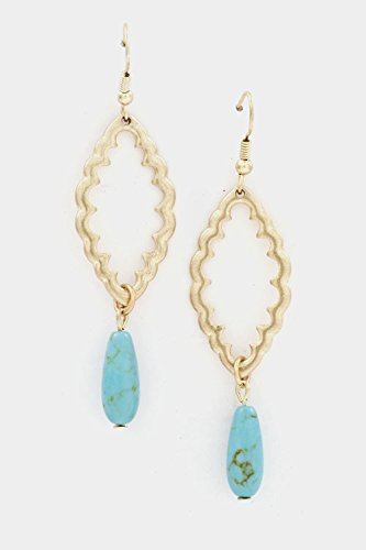 Glitz Finery Floral Metal Shaped With Drop Turquoise Dangle Earring front-178919