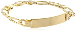 14k Yellow Gold 8.7mm Men's ID Bracelet, 8.5