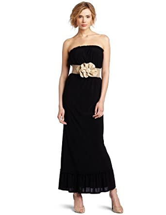 wrapper juniors maxi strapless dress with wide gold belt