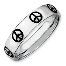 Fine Silver Stackable Peace Sign Ring. Sizes 5-10 Available