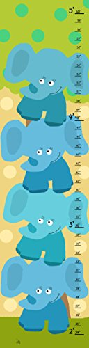 Green Leaf Art Growth Chart, Stacked Elephants - 1