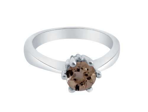 Gemshine - Ladies ring - Sterling Silver 925 - Smoky Quartz - Brown - Solitaire