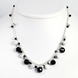 Sterling Silver Howlite and Onyx Necklace - 18 Inch - Lobster Claw - JewelryWeb