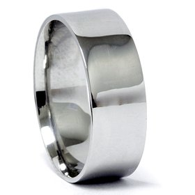 Mens 8MM Flat 950 Platinum Comfort Wedding Ring Band