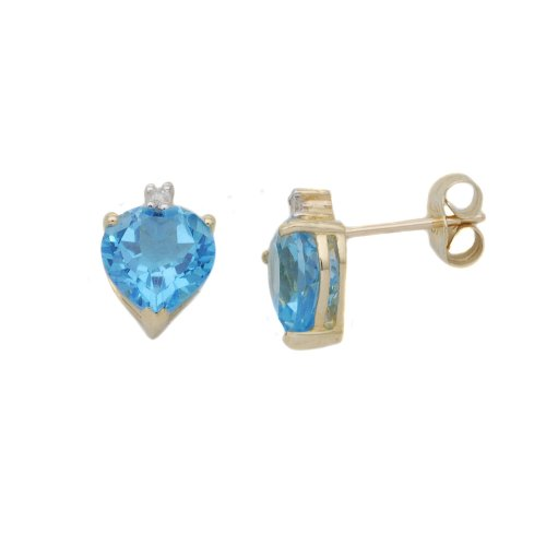 9ct Yellow Gold Heart Blue Topaz/Diamond Earrings