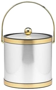 Kraftware Mylar Brushed Chrome And Brass 3-Quart Ice Bucket With Bale Handle, Bands And Metal Cover