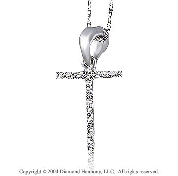 14k White Gold Large Casual Fun Diamond ^T^ Initial Pendant