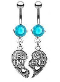 Gekko Body Jewellery Pair of Vintage Style Best Friends Heart Belly Bars with Aqua CZ Gem