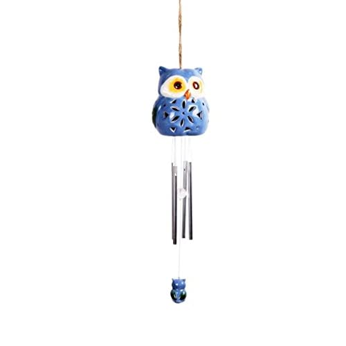 Lightahead Solar Owl Windbell Light Solar Powered Owl Color Changing LED Wind Chime for Park, Patio, Deck, Yard, Garden, Home, Pathway, Outside Landscape decoration and celebration - Light Blue