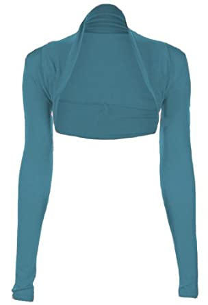 Fashion Victim, Ladies Long Sleeve Bolero Shrug, Cardigan in Teal, Bright Colors, One Size 4-10
