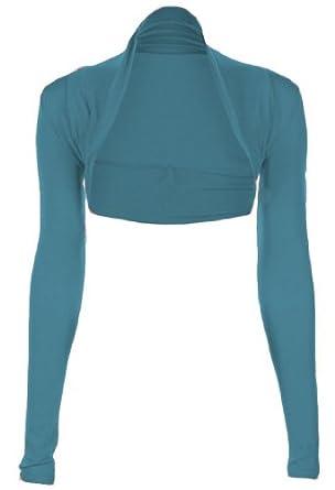 Fashion Victim, Ladies Long Sleeve Bolero Shrug, Cardigan in Teal