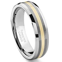 6MM Tungsten Carbide 14K Gold Inlay Wedding Band Ring Size 4-13