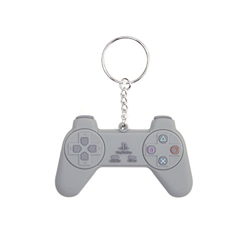 Playstation Controller new Official grey Rubber retro Keychain key ring