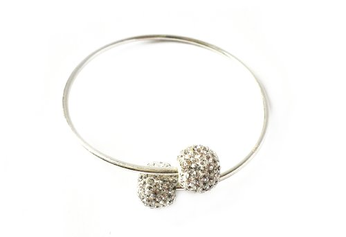 Love Crystal Clear Crystal Encrusted Balls on a Sterling Silver Torque Bangle