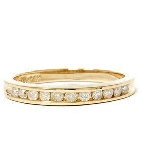 Pompeii3 Inc. .25CT LADIES RING NATURAL DIAMOND CHANNEL SET WEDDING BAND PURE 14K YELLOW GOLD