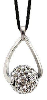 Silver dangling 8MM crystal ball Pendant - Clear Diamond colour swarovski crystals - bling bling!! - crytal ball spins - necklace is adjustable size 16