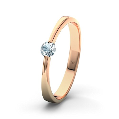 21DIAMONDS Maisie Engagement Ring Aquamarine Diamond Cut Women's Ring 14 Carat 585 Red Gold Engagement Ring