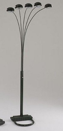 Black Metal 5-Cap Arc Sofa Floor lamp