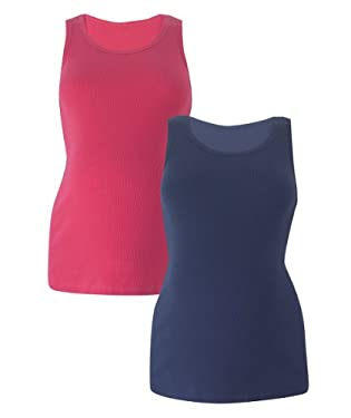Maternity Vests - 2pk Navy/Pink