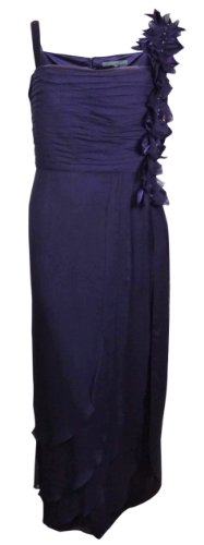 Km Collections By Milla Bell Women'S Crinkle Chiffon Evening Dress (24W, Purple)