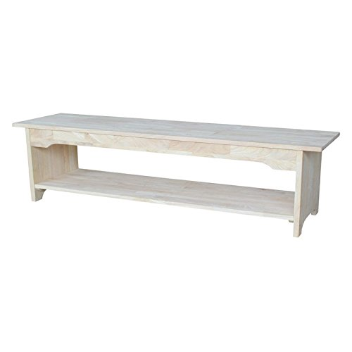Brookstone Wood Bench With Lower Storage Shelf (Country Storage Bench compare prices)