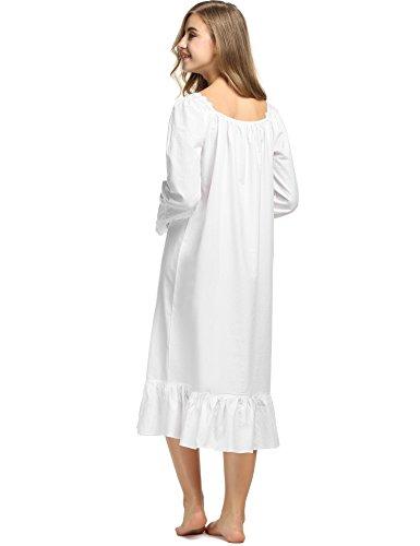 Avidlove Womens Cotton Victorian Nightgowns Romantic Long Bell Sleeve Nightshirt 4