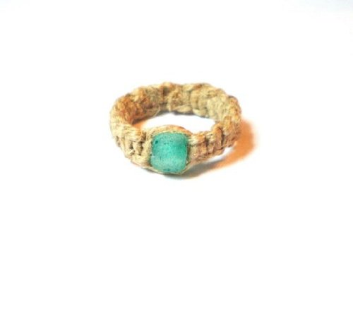 Natural Hemp Ring Size 8 with Green Recycled-glass Bead (Sizes Avail 5 - 14)